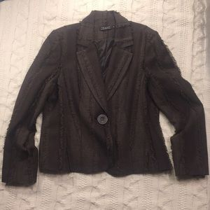 Tribal brown rag edge lined blazer jacket sz 14